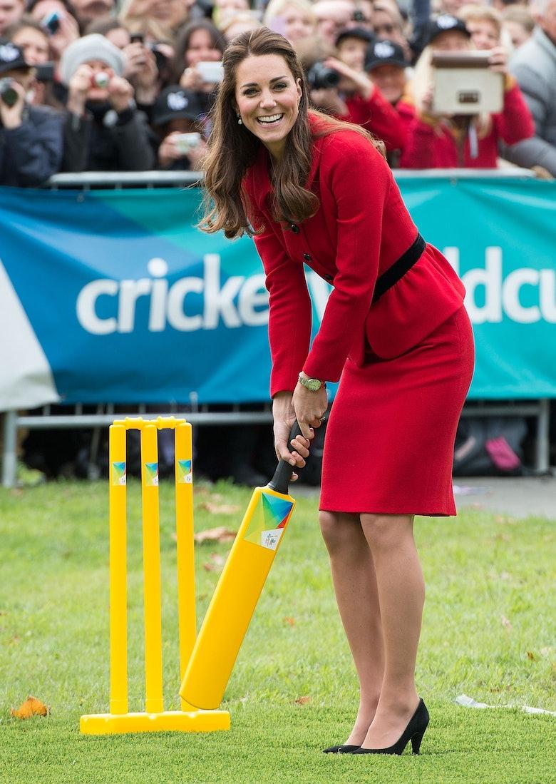 Kate Middleton in pantyhose stocking feet beside her