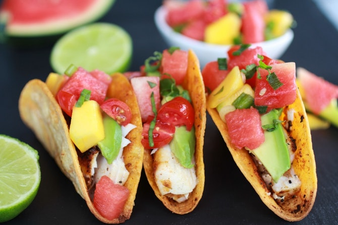 tequila soaked watermelon salsa on mahi mahi tacos this tequila soaked ...