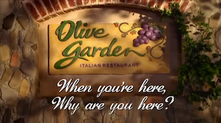 Watch john oliver reduce olive garden to an unappealing barely edible mess video for Come on down to the olive garden
