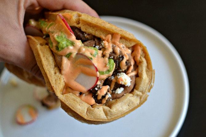20. Beer Batter Waffle with Carne Asada