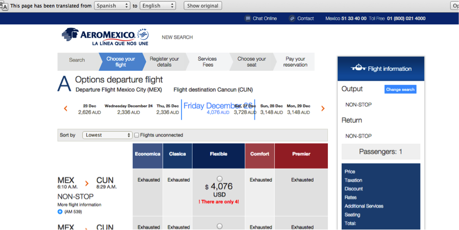 aeromexico airline tickets prices