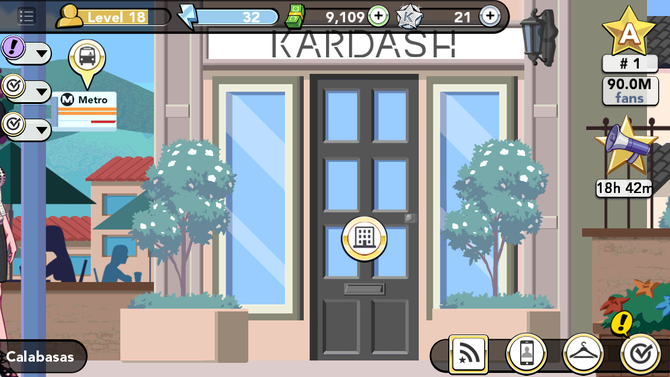 What are the locations in kim kardashian iphone game based on you can