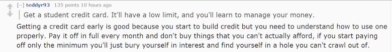 how to build credit reddit after 18