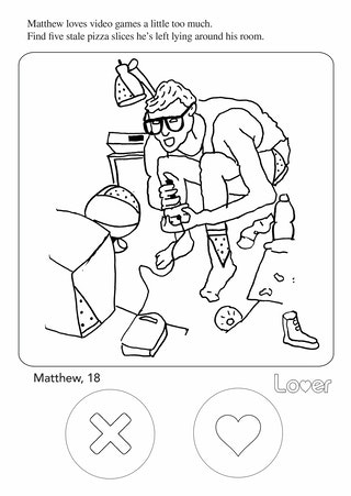 this tinder themed adult coloring book perfectly captures dating app fails