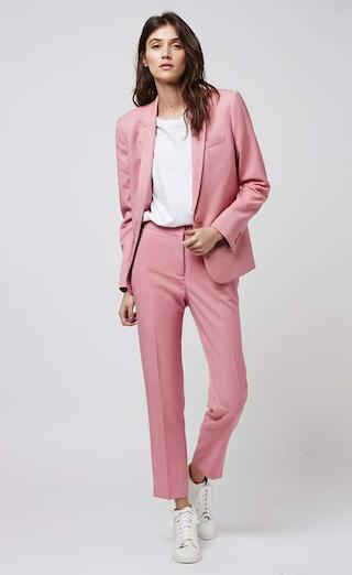 black suit light pink shirt