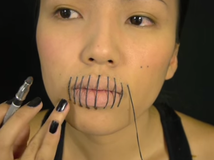 Halloween Makeup Quick Stitched Lips Tutorials Thatll - Quick Halloween Makeup