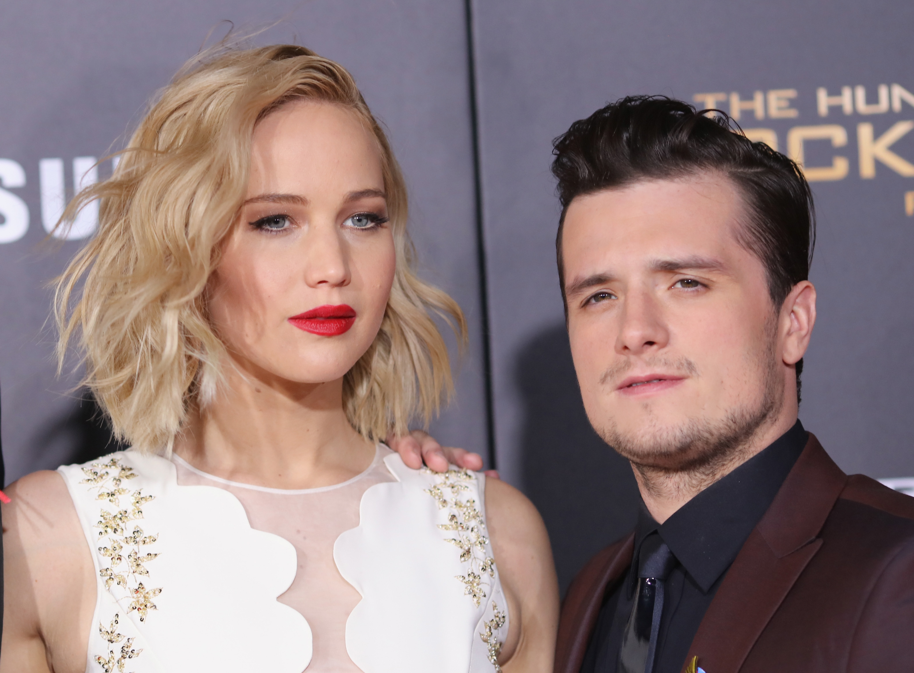 Jennifer Lawrence Picks Josh Hutchersons Beard Hair Proving Theyre A Great Couple Off Screen On