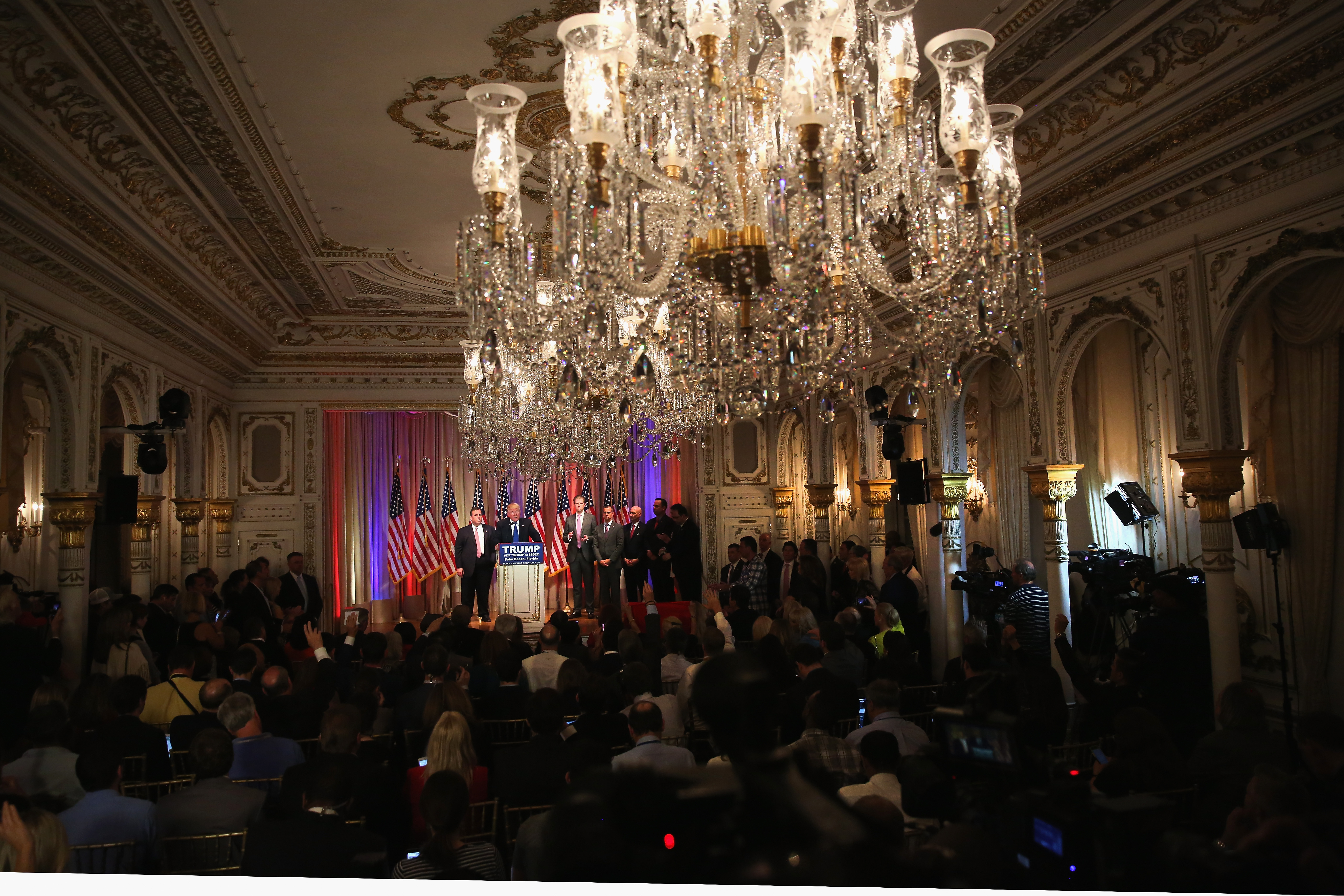 The best tweets about the chandeliers at donald trumps super john mooregetty images newsgetty images mozeypictures Gallery