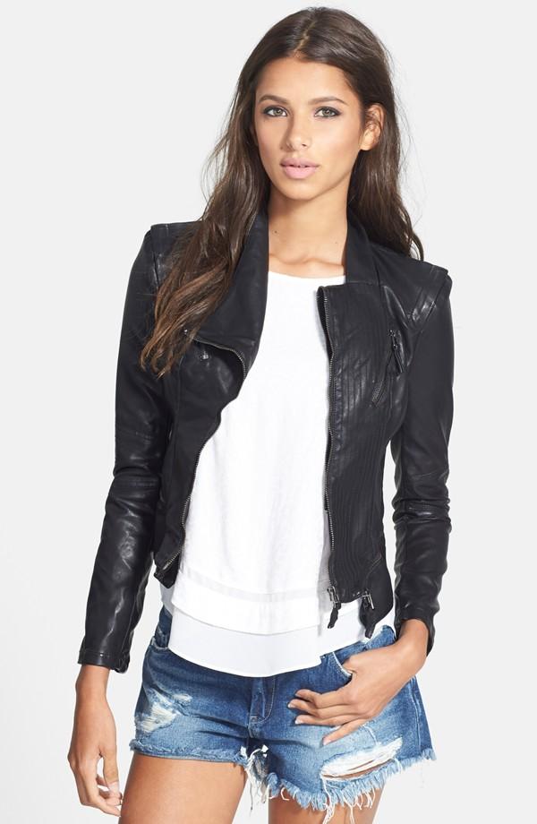 Black top leather jacket