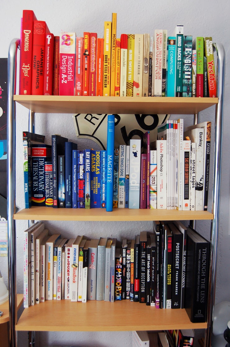 Co colour coordinated bookshelf - Your Bookshelf Isn T Exactly Large Nor Is It Full This Doesn T Mean You Don T Love Reading It Means You Love Lending Books To Your Friends And Using The