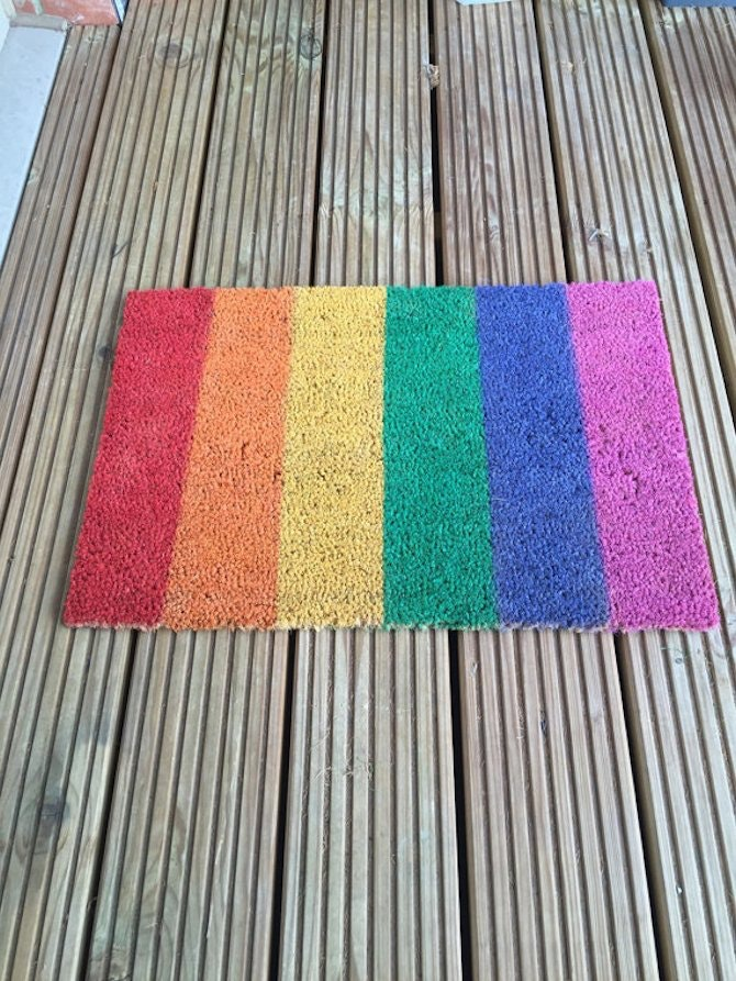 Rainbow Doormat Party Balloons Pink Door Mat With Rainbow