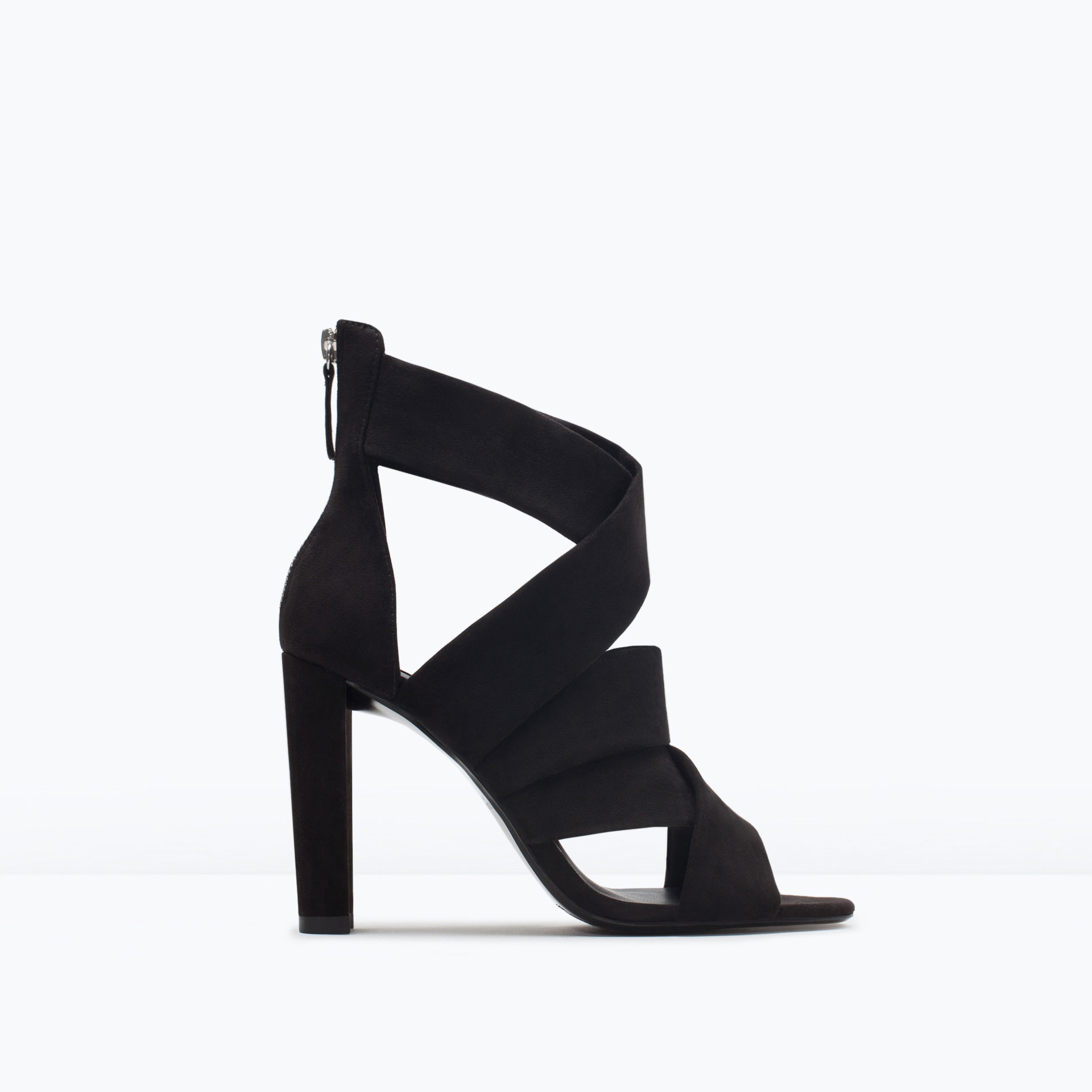 High Heel Black Strappy Sandals