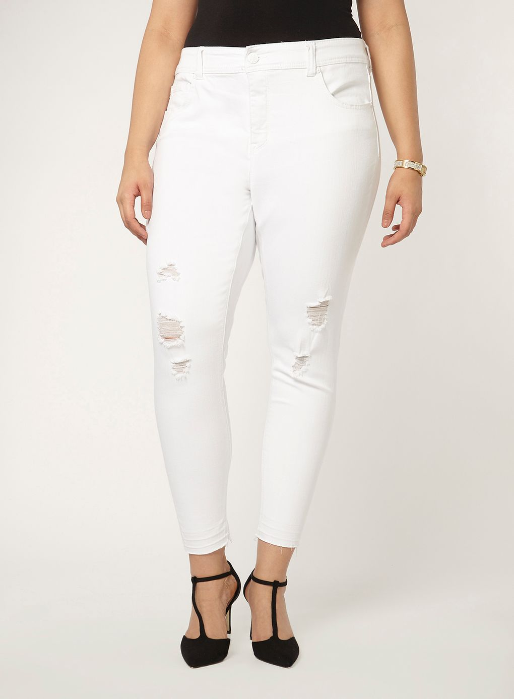 Plus Size White Skinny Jeans - Jeans Am