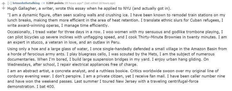 the most memorable college admissions essays reddit has ever seen the legendary hugh gallagher essay