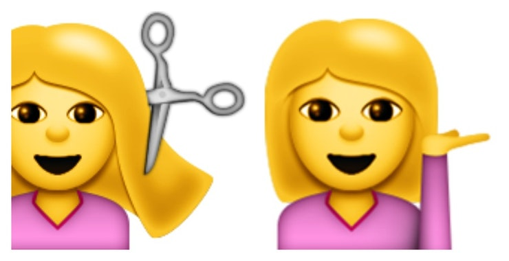 There S An Emoji Of A Similar Looking Woman Getting Her Hairs Cut With Impossibly Large Pair Scissors