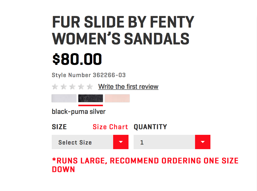 What Size Rihanna Puma Fur Slides Should You Buy? Here's A Key Tip