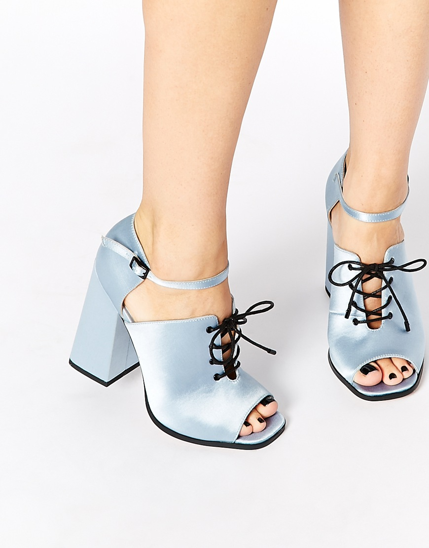 Satin Lace Up Heels - Is Heel