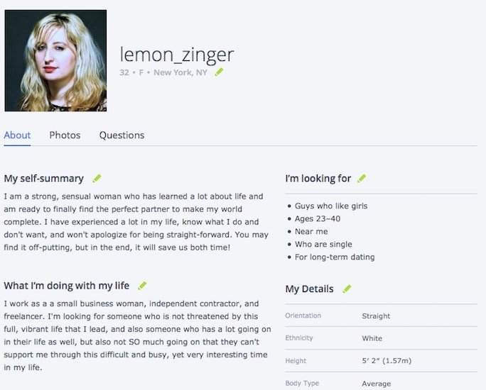 Good profile summary dating