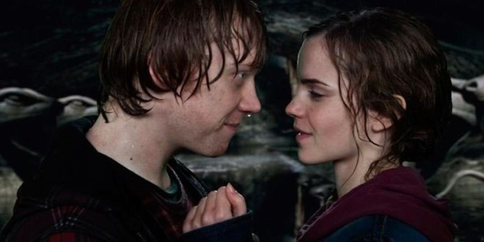 Image result for ron and hermione kiss chamber of secrets