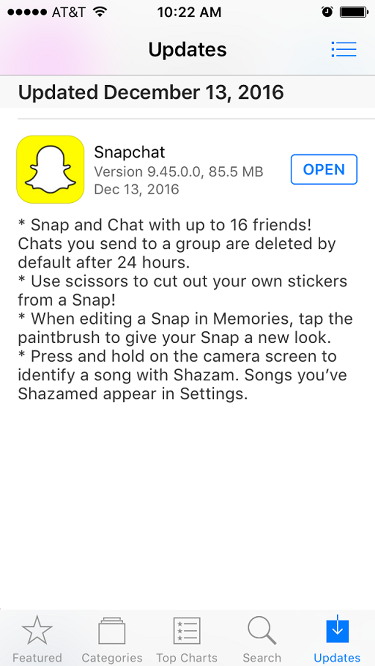 First, Head To The Itunes App Store Or Google Play Store To Check For The  Newest Version Of Snapchat The Current Update Is Version 94500;