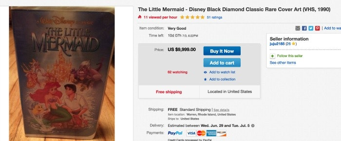 your disney vhs tapes could be worth an insane amount of money now bustle. Black Bedroom Furniture Sets. Home Design Ideas