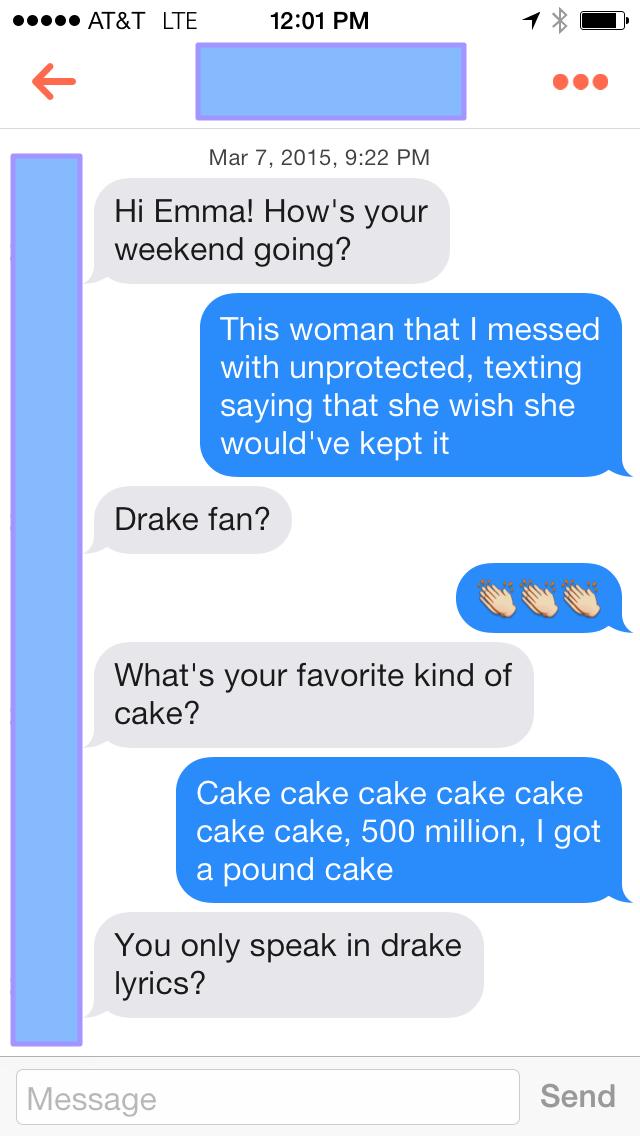 Lyric drake lyric : I Talked To People On Tinder Using Drake Lyrics From The