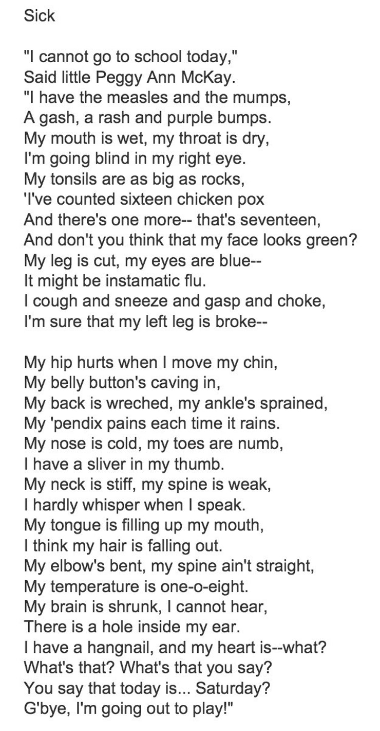 of shel silverstein s most weird and wonderful poems before ferris bueller there was peggy ann mckay who couldn t go to school today because of two page long list of rhyming ailments