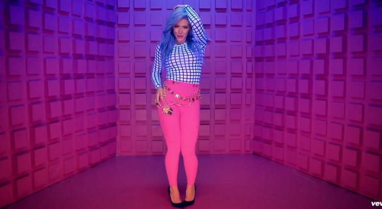 "Hilary Duff S Sparks Video Singer Rocks Blue Hair In: 11 Things Hilary Duff's ""Sparks"" & Demi Lovato's ""Neon"