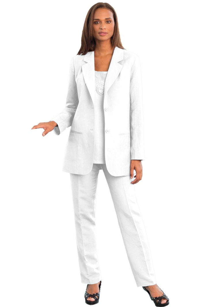 where to buy a white pantsuit to show that you re her 1 single breasted linen blazer