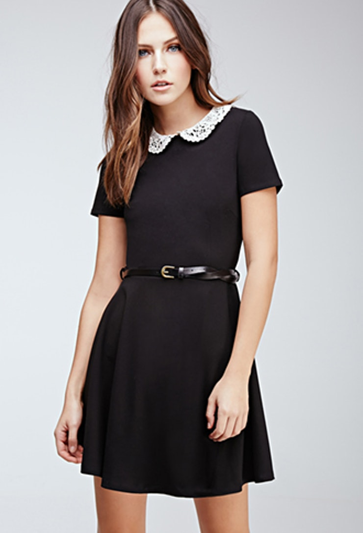 Black dress with white peter pan collar - Because Sometimes A White Lace Collar Is All A Lbd Needs Forever 21 Crocheted Peter Pan Collar Dress 22 80 Forever21 Com