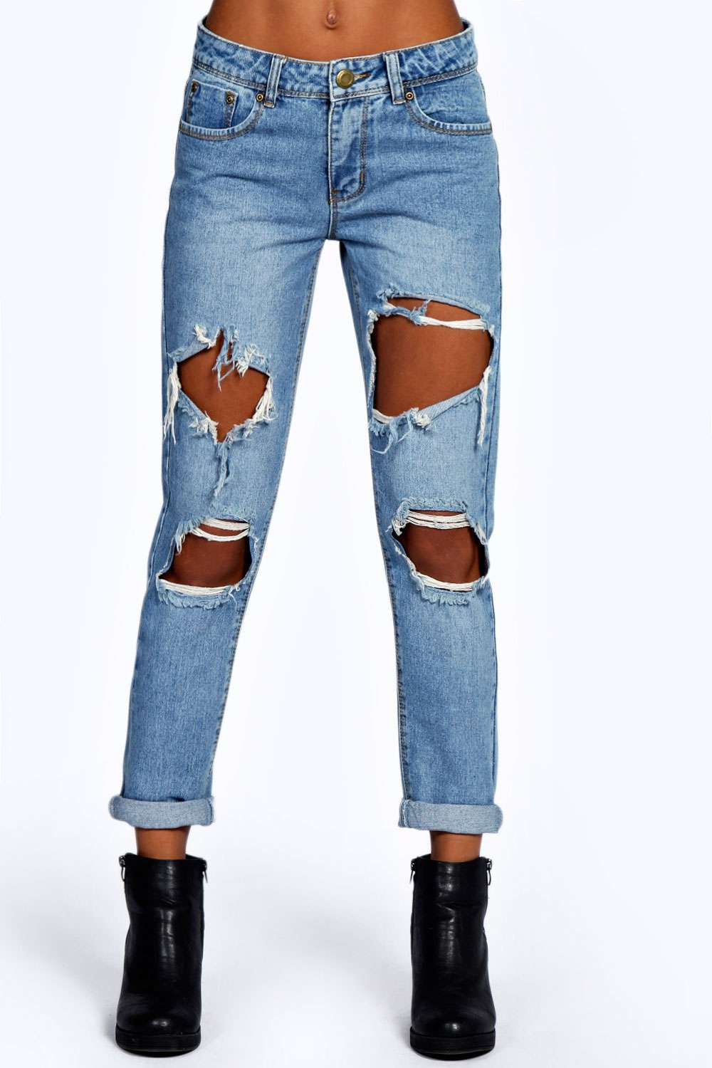 Ripped Denim Boyfriend Jeans