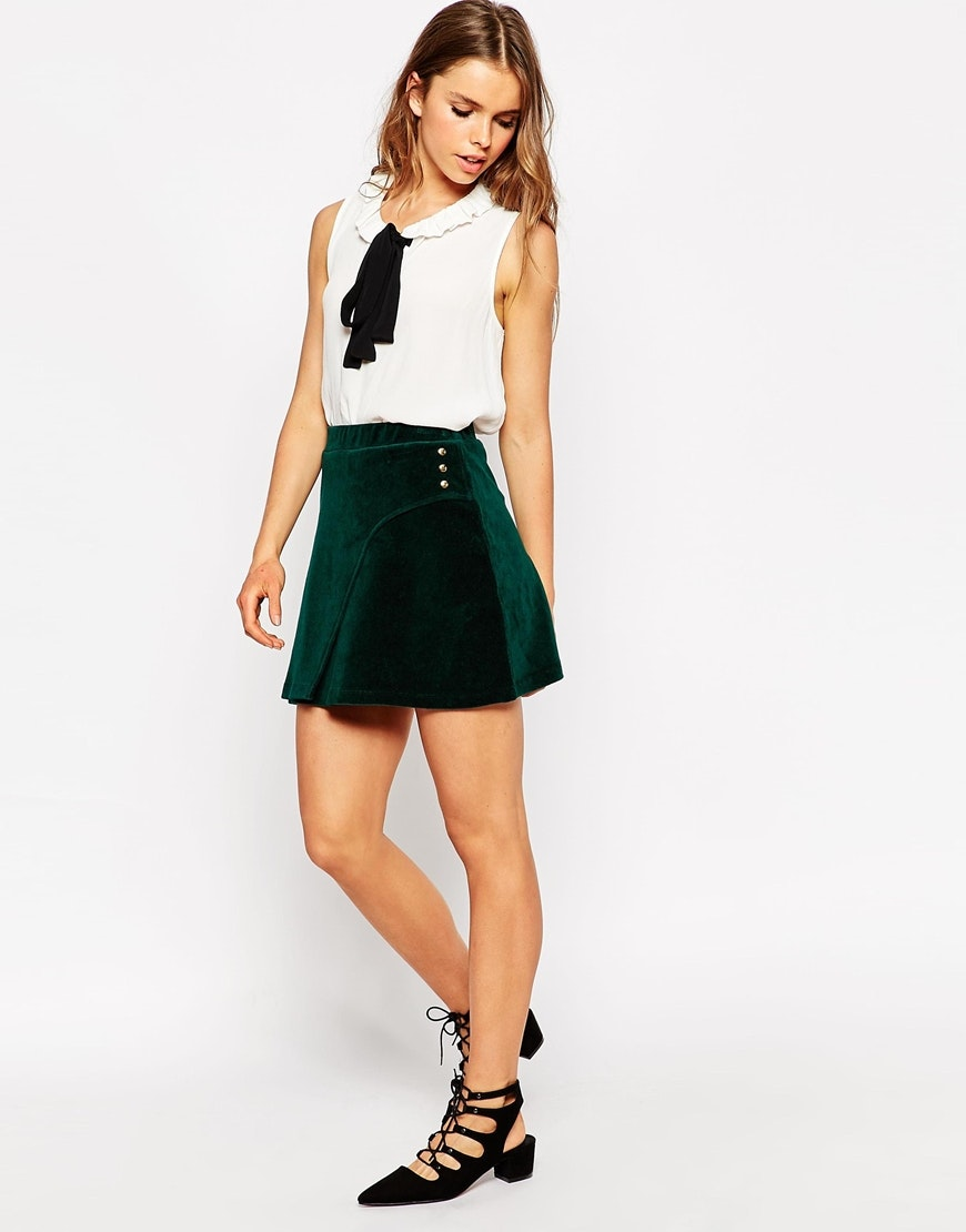 the forest green skirt