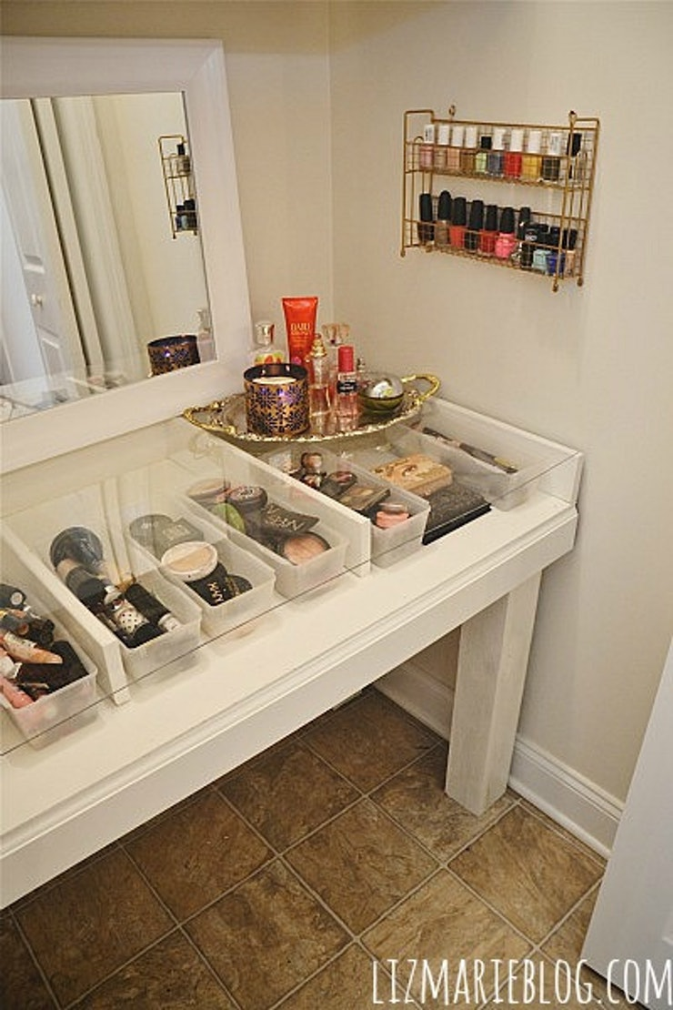vanity makeup organizer ideas. Now  Liz Marie built an entire custom table to create this die for vanity but I m confident you could figure out a way do the same thing with old 14 DIY Makeup Organizer Ideas That Are So Much Prettier Than Those